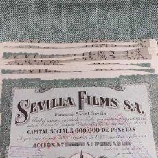 Collectionnisme Actions Espagne: 10 ACCIONES DE SEVILLA FILMS 1938 LOTE N8. Lote 205825045