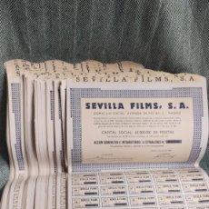 Collectionnisme Actions Espagne: LOTE DE 100 ACCIONES SEVILLA FILMS, S.A. - CON CUPONES - (EMPRESA DE CINE) - AÑO 1968. Lote 205825982