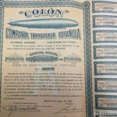 Coleccionismo Acciones Españolas: COLÓN. COMPAÑÍA TRANSAÉREA ESPAÑOLA. 1928. Lote 237683950