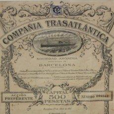 Coleccionismo Acciones Españolas: DOCUMENTO DE LA COMPAÑIA TRASATLÁNTICA S.A. (BARCELONA). ACCIÓN PREFERENTE Nº004041. 23 ABRIL 1913. Lote 206328106