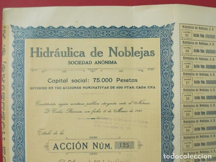 Coleccionismo Acciones Españolas: ACCION - HIDRAULICA DE NOBLEJAS , TOLEDO - AÑO 1929 - .. L500 - Foto 2 - 206975625