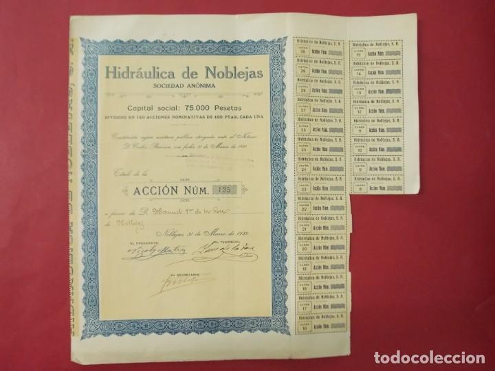 ACCION - HIDRAULICA DE NOBLEJAS , TOLEDO - AÑO 1929 - .. L500 (Coleccionismo - Acciones Españolas)