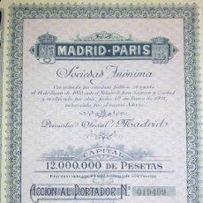 Coleccionismo Acciones Españolas: MADRID-PARIS S.A. 1921 TODOS LOS CUPONES. Lote 207037695