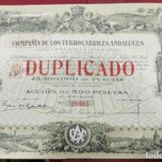 Coleccionismo Acciones Españolas: COMPAÑÍA DE LOS FERROCARRILES ANDALUCES, SIN CUPONES. Lote 207066766