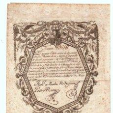 Coleccionismo Acciones Españolas: ACCION DE PRESTAMO DE 400 MILLONES DE REALES. MADRID. 1 DE MAYO DE 1799 RARISIMO. Lote 207162341