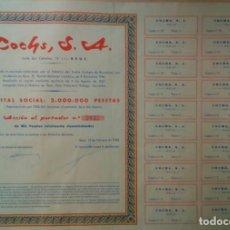 Coleccionismo Acciones Españolas: COCHS S. A. REUS ACCION Y CUPONES Nº 2032 AÑO 1968 DE LA EMPRESA ACEITES VINOS LICORES VERMUT. Lote 207181853