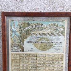 Coleccionismo Acciones Españolas: ACCION ESPAÑOLA CUPONES FOMENTO DE OBRAS Y CONSTRUCCIONES N 1218779 50X50CMS. Lote 207226485