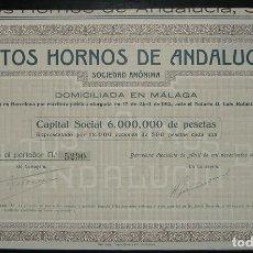 Coleccionismo Acciones Españolas: ALTOS HORNOS DE ANDALUCÍA, MÁLAGA (1912). Lote 207715736