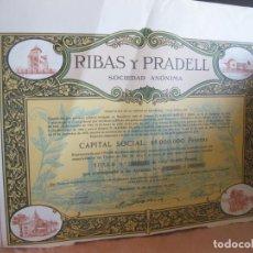 Coleccionismo Acciones Españolas: ACCION RIBAS Y PRADELL. BARCELONA 1970.. Lote 207766378