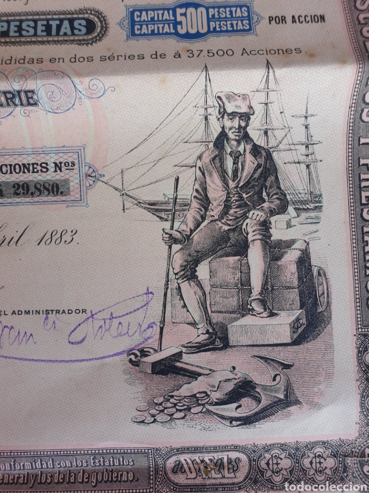 Coleccionismo Acciones Españolas: CREDITO ESPANOL ANO 1883 - Foto 3 - 208051757