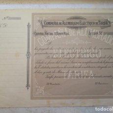 Coleccionismo Acciones Españolas: RARÍSIMA ACCIÓN D 250 PESETAS DE LA COMPAÑIA DE ALUMBRADO ELÉCTRICO DE TARIFA.AÑO 1.899. NO EXPEDIDA. Lote 208313702