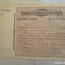 Coleccionismo Acciones Españolas: RARÍSIMA ACCIÓN D 250 PESETAS DE LA COMPAÑIA DE ALUMBRADO ELÉCTRICO DE TARIFA.AÑO 1.899. NO EXPEDIDA. Lote 208313836