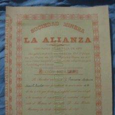 Coleccionismo Acciones Españolas: ACCION SOCIEDAD MINERA LA ALIANZA. ASPE 1890.. Lote 208787417