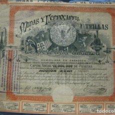 Coleccionismo Acciones Españolas: ACCION MINAS Y FERROCARRILES UTRILLAS. ZARAGOZA 28 DE SEPTIEMBRE DE 1902.. Lote 208787665