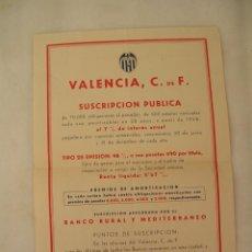Coleccionismo Acciones Españolas: VALENCIA, C. DE FUTBOL, TITULO DE ACCION, SUSCRIPCION PUBLICA. Lote 210812166