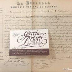 Coleccionismo Acciones Españolas: ACCION, COMPAÑIA DE SEGUROS LA ESPAÑOLA 1876, MADRID. Lote 211412122