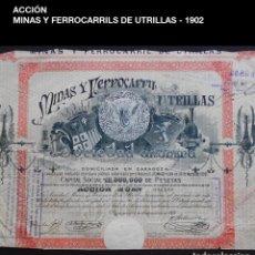 Coleccionismo Acciones Españolas: ACCIÓN - MINAS Y FERROCARRIL DE UTRILLAS S.A - 1902 - PCACC - REF226. Lote 211518485