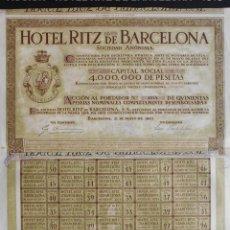 Coleccionismo Acciones Españolas: ACCIÓN - HOTEL RITZ DE BARCELONA S.A. - 1918 - PCACC - REF228. Lote 211519095