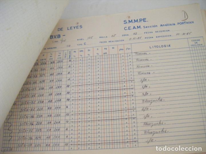 Coleccionismo Acciones Españolas: JML MINERIA MINAS CONTROL DE LEYES CANTERA SAN JOSE ANALISIS PORTMAN CARTAGENA MURCIA 1985. CONJUNTO - Foto 2 - 211965571