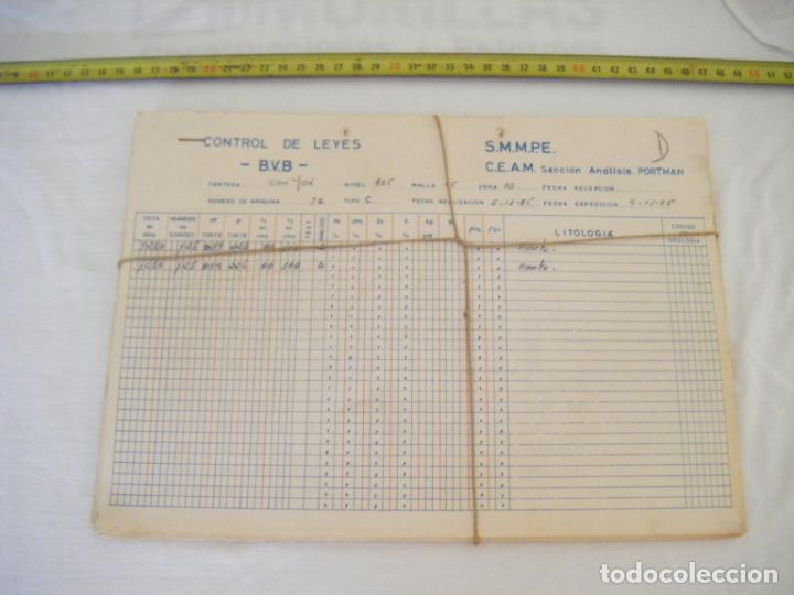 JML MINERIA MINAS CONTROL DE LEYES CANTERA SAN JOSE ANALISIS PORTMAN CARTAGENA MURCIA 1985. CONJUNTO (Coleccionismo - Acciones Españolas)