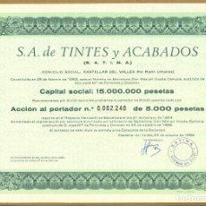 Coleccionismo Acciones Españolas: 7 ACCIÓNES – S.A. TINTES Y ACABADOS. Lote 212292028