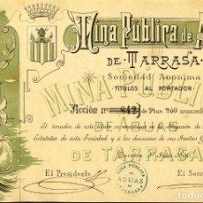 Coleccionismo Acciones Españolas: ACCION DE LA MINA PUBLICA DE AGUAS DE TERRASSA DE 1896. MODERNISTA. PRECIOSA. Lote 212336598