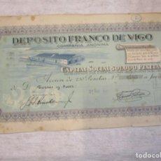 Coleccionismo Acciones Españolas: ACCION DEPOSITO FRANCO DE VIGO - TORRES Y SAEZ - 1925 Nº 0703/2004 RARA - GALICIA DOCUMENTOS. Lote 212630062