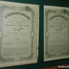 Coleccionismo Acciones Españolas: (M) 2 ACCIONES ORIGINALES ICTINEO LA NAVEGACION SUBMARINA , NARCISO MONTURIOL MAYO 1864 ORIGINALES. Lote 212703793