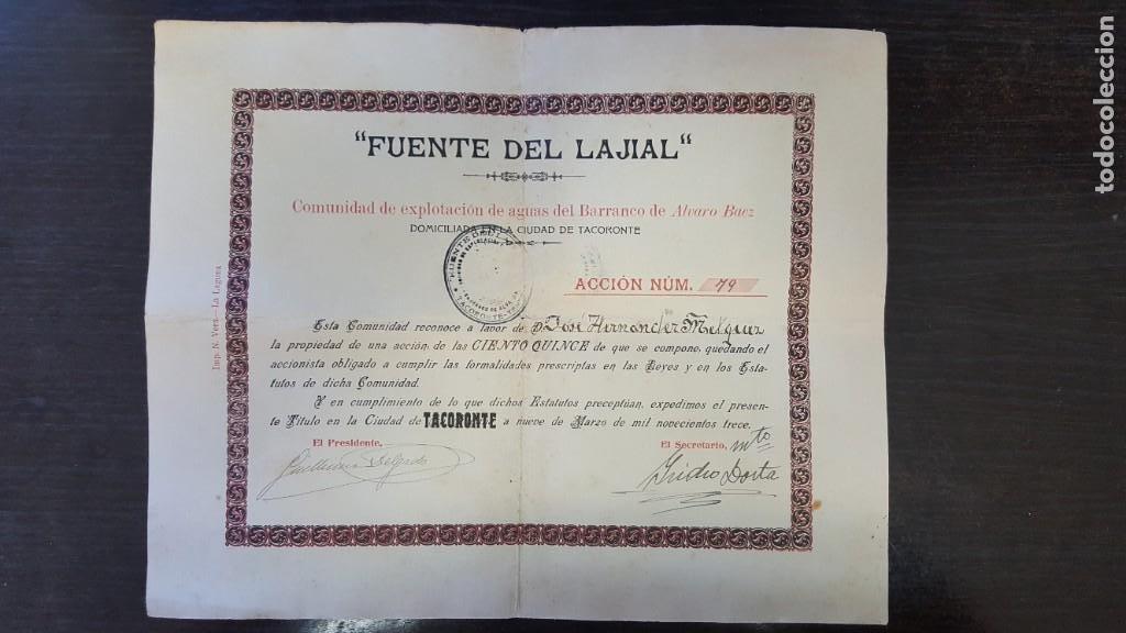 """""""ACCIÓN DE AGUAS FUENTE DEL LAJIAL"""". COMUNIDAD EXPLOTACION AGUAS BARRANCO DE ALVARO BAEZ. TENERIFE. (Coleccionismo - Acciones Españolas)"""