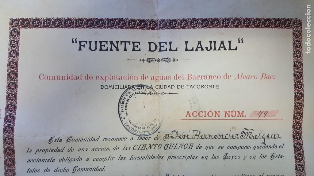 """Coleccionismo Acciones Españolas: """"ACCIÓN DE AGUAS FUENTE DEL LAJIAL"""". COMUNIDAD EXPLOTACION AGUAS BARRANCO DE ALVARO BAEZ. TENERIFE. - Foto 2 - 214079683"""