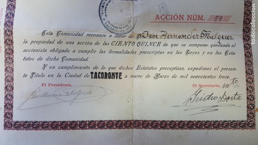 """Coleccionismo Acciones Españolas: """"ACCIÓN DE AGUAS FUENTE DEL LAJIAL"""". COMUNIDAD EXPLOTACION AGUAS BARRANCO DE ALVARO BAEZ. TENERIFE. - Foto 3 - 214079683"""