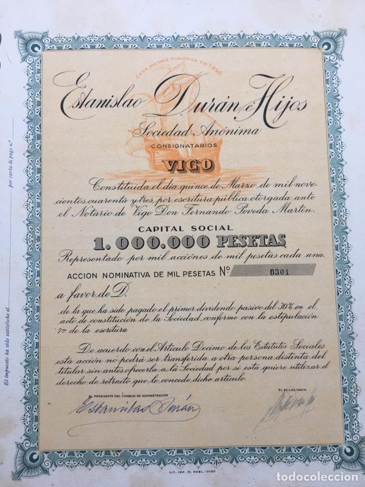 Coleccionismo Acciones Españolas: ESTANISLAO DURAN E HIJOS - Lote de 100 antiguas acciones nominativas. - Foto 2 - 214103578