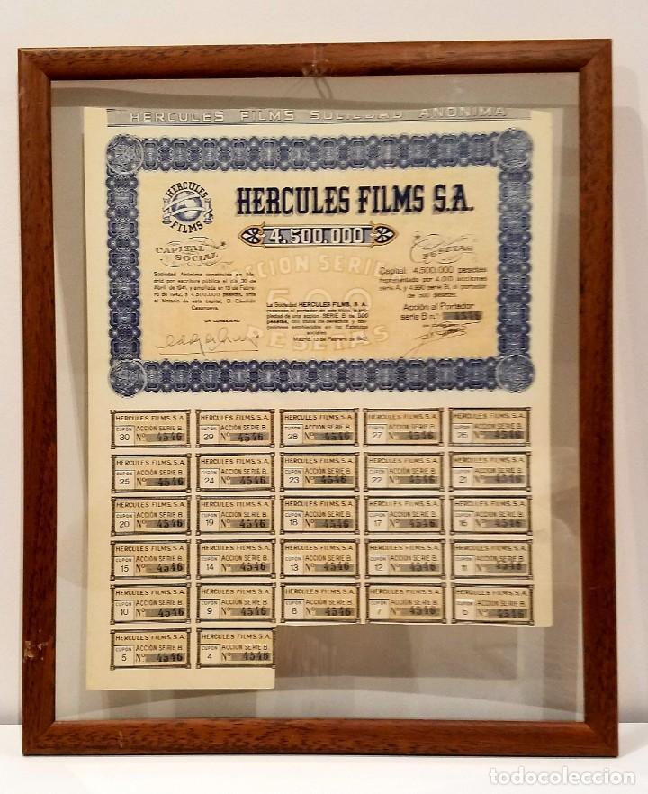 ACCION HERCULES FILMS A.S. 1942 ENMARCADA (Coleccionismo - Acciones Españolas)