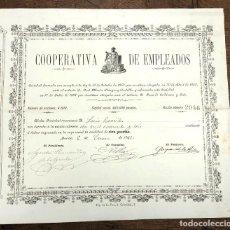 Coleccionismo Acciones Españolas: ACCION COOPERATIVA DE EMPLEADOS. MURCIA, 6 DE ENERO DE 1892. Lote 214802847