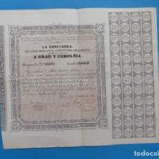 Coleccionismo Acciones Españolas: VALENCIA - LA CONFIANZA, SOCIEDAD MERCANTIL CONSTITUIDAD LEGALMENTE, J. GRAU Y CIA. - AÑO 1866. Lote 217186341