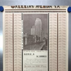 Coleccionismo Acciones Españolas: ACCION GALERIAS AVENIDA, S.A., VALENCIA - AÑO 1930 - 500 PTAS. Lote 218022640