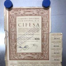 Coleccionismo Acciones Españolas: ACCION CIFESA, COMPAÑIA INDUSTRIAL FILM ESPAÑOL, S.A., VALENCIA - AÑO 1942 - 500 PTAS. Lote 218024265