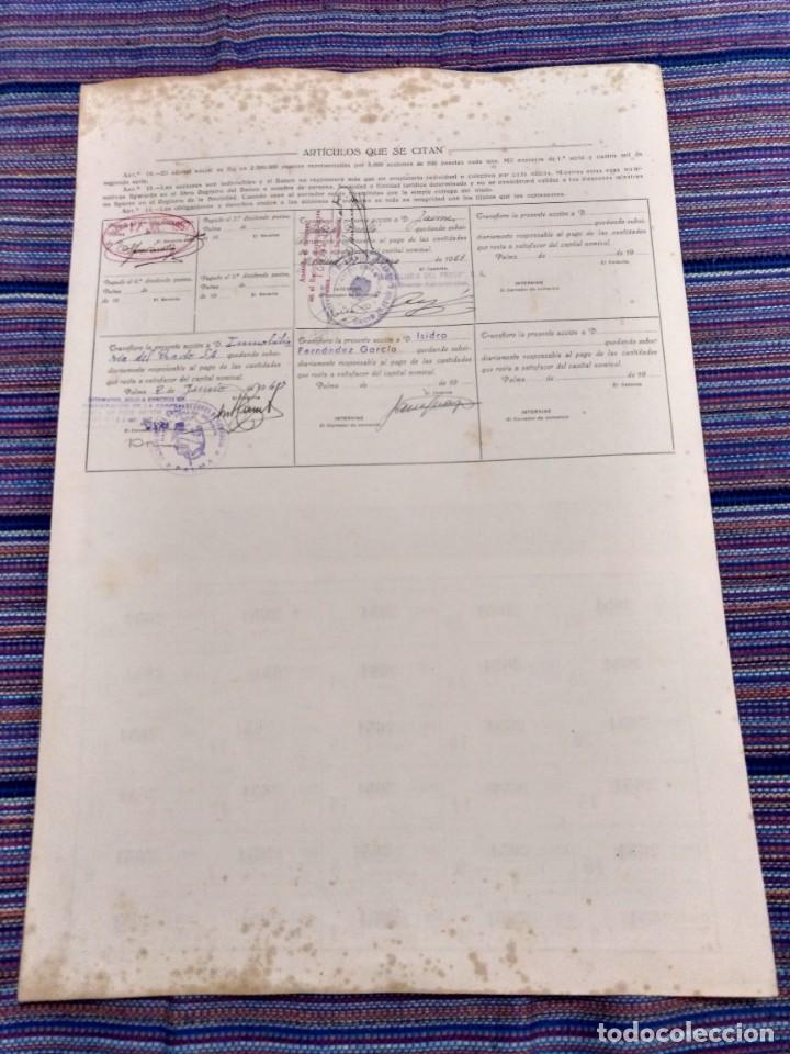 Coleccionismo Acciones Españolas: MUY RARA ACCIÓN 500 PESETAS BANCO AGRARIO DE BALEARES Nº2651 22 MAYO 1943 MUY GRANDE - Foto 2 - 21147637