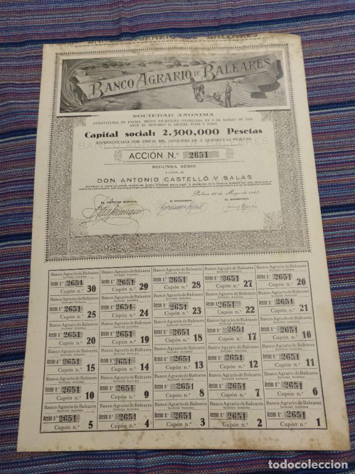 MUY RARA ACCIÓN 500 PESETAS BANCO AGRARIO DE BALEARES Nº2651 22 MAYO 1943 MUY GRANDE (Coleccionismo - Acciones Españolas)