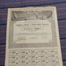 Coleccionismo Acciones Españolas: MUY RARA ACCIÓN 500 PESETAS BANCO AGRARIO DE BALEARES Nº2651 22 MAYO 1943 MUY GRANDE. Lote 21147637
