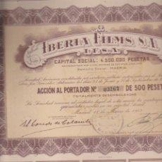 Coleccionismo Acciones Españolas: ACCIÓN DE IBERIA FILMS. ACCIÓN DE 500 PESETAS. MADRID 1943. Lote 218655698
