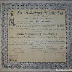Coleccionismo Acciones Españolas: ACCIÓN DE 500 PESETAS DE SIFONES LA ASTURIANA DE MADRID. 1922.. Lote 218794951