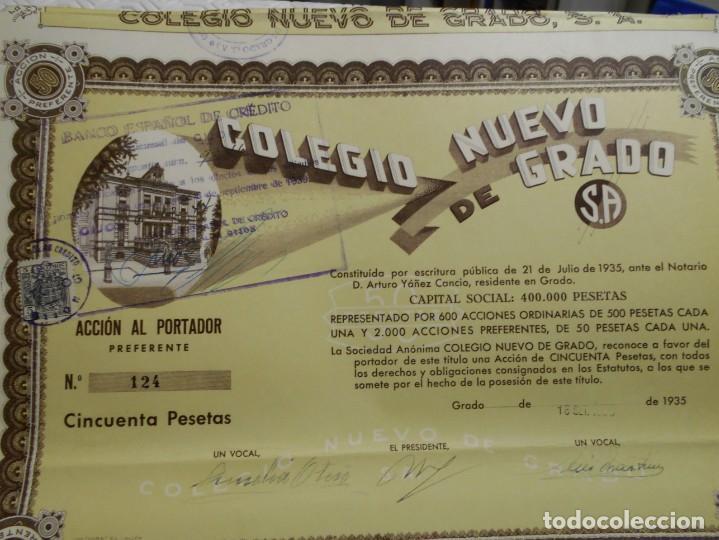 Coleccionismo Acciones Españolas: COLEGIO NUEVO DE GRADO. S. A. ACCION AL PORTADOR PREFERENTE. AÑO 1935. CINCUENTA PESETAS. - Foto 3 - 218840110