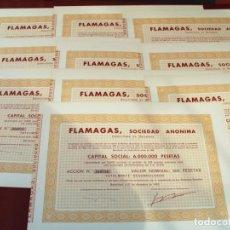 Collectionnisme Actions Espagne: COLECCIÓN DE 10 ACCIONES ESPAÑOLAS - FLAMAGAS SOCIEDAD ANÓNIMA - 1965 - SALIDA 0,01. Lote 219114138