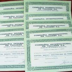 Collectionnisme Actions Espagne: COLECCIÓN DE 10 ACCIONES ESPAÑOLAS - COMPAÑÍA INTERNACIONAL DE VALORES S.A. - 1975 - SALIDA 0,01. Lote 219116843