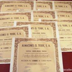 Collectionnisme Actions Espagne: COLECCIÓN DE 10 ACCIONES ESPAÑOLAS - ALMACENES EL TEIDE S.A. - 1945 - SALIDA 0,01. Lote 219119687