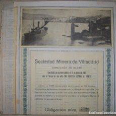 Collectionnisme Actions Espagne: GALICIA. SOCIEDAD MINERA DE VILLAODRID (LUGO). DOMICILIADA EN BILBAO. 1921.. Lote 219200253