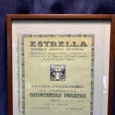 Coleccionismo Acciones Españolas: ESTRELLA S. A. ACCION NUMERO 26 ENMARCADA 40,5X33,5CMS. Lote 220642812