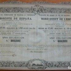 Coleccionismo Acciones Españolas: CASTILLA Y LEÓN. COMPAÑÍA DEL FERROCARRIL DE PALENCIA A PONFERRADA O DEL NOROESTE DE ESPAÑA. 1863. Lote 220756751