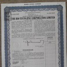 Coleccionismo Acciones Españolas: THE RIO TINTO-ZINC CORPORATION LIMITED. Lote 221117311